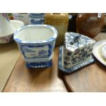 A blue and white wedge shaped Cheese Dish and an oriental style blue and white Pot and stand