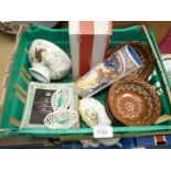 Two Shelley Pin dishes, Parastone Vase, studio pottery, Georama glass ''Queens Beasts'' dishes,