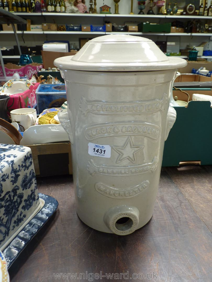 A salt glazed vintage water filter by Slack and Brownlow of Manchester, lid a/f.