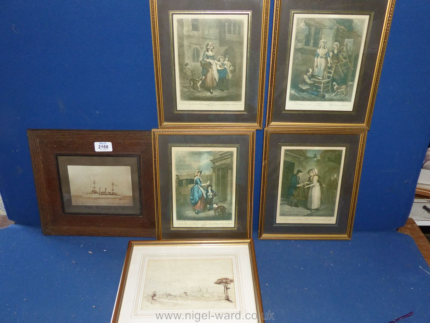 """An Old Naval photo, framed, Ink Drawing 1865 and four """"Cries of London"""" prints. - Image 2 of 3"""