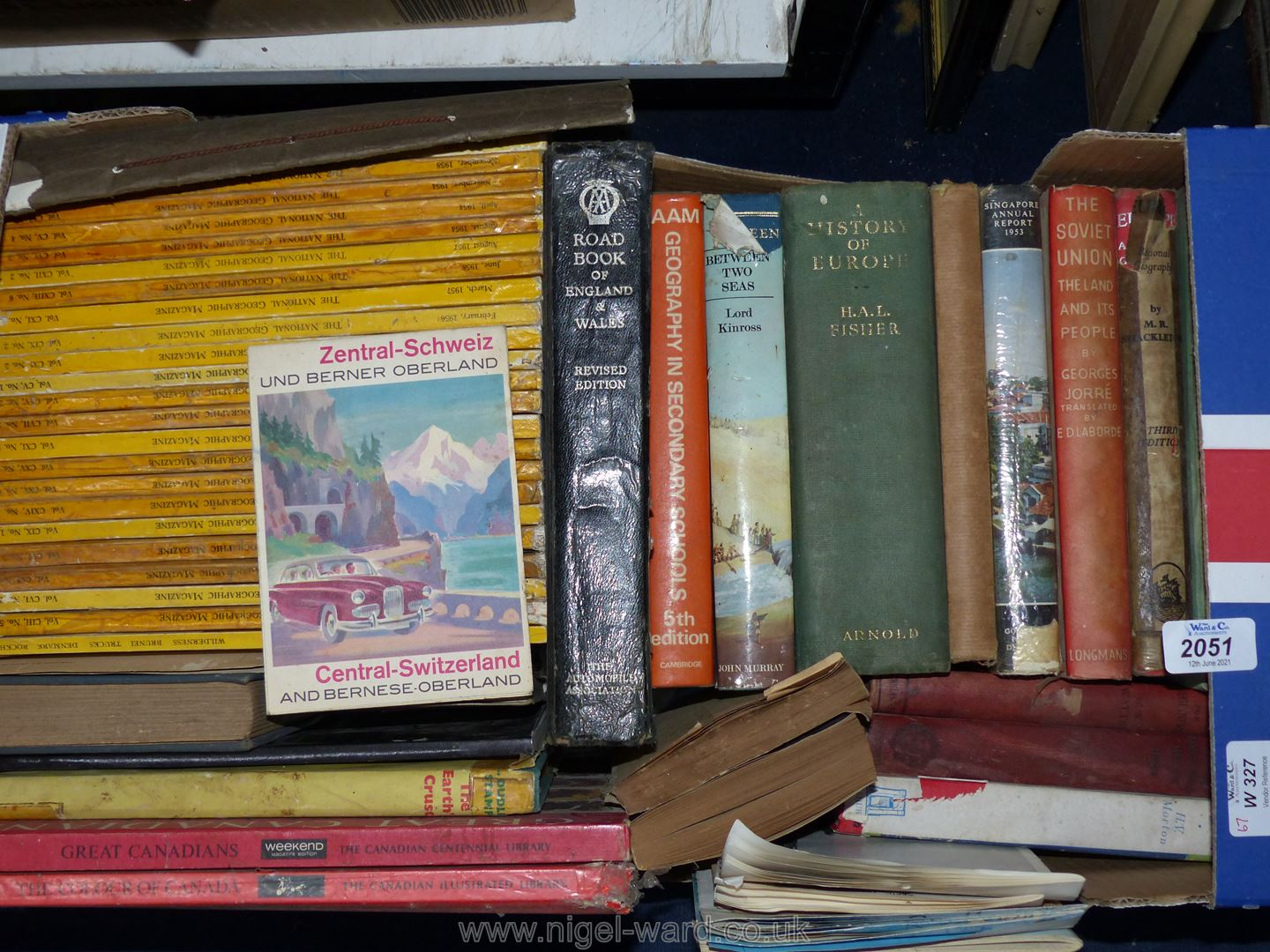 A box of National Geographic magazines from the 1950's, Geography and Travel Inc, Canada,