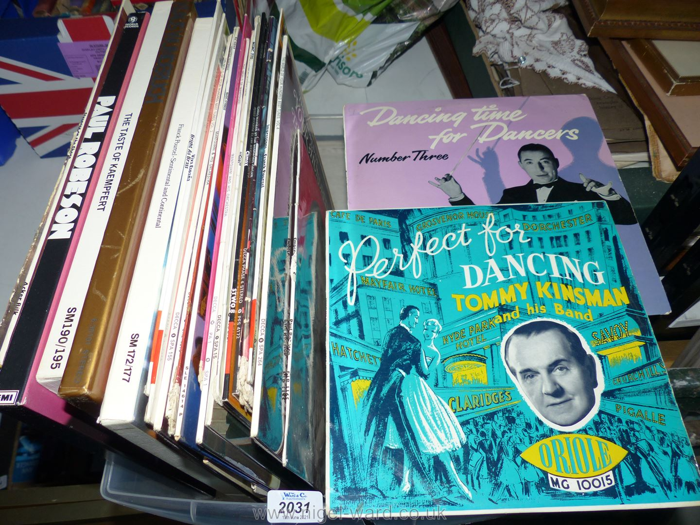 A plastic box of classical L.P's including Mantovani, Magic strings by Norman Candler, etc.