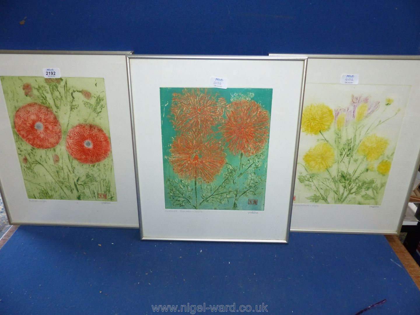 Three modern framed limited edition Prints of flowers including 'Poppies' no.