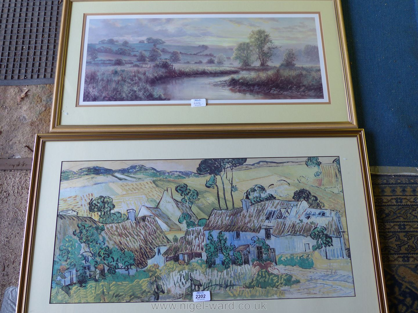 """A framed and mounted Print by David Dipnall, Landscape fields and stream, 31"""" x 16 1/2"""". - Image 2 of 2"""