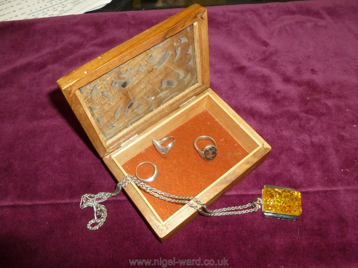 A yellow coloured Pendant and three silver Rings - Image 2 of 3