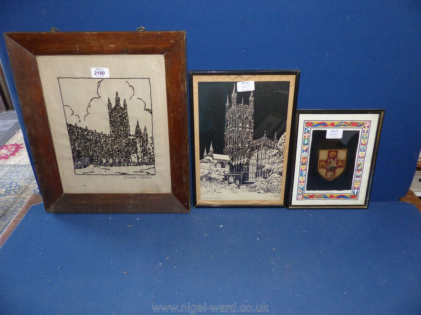 A framed woolwork and a woodblock print, - Image 2 of 2
