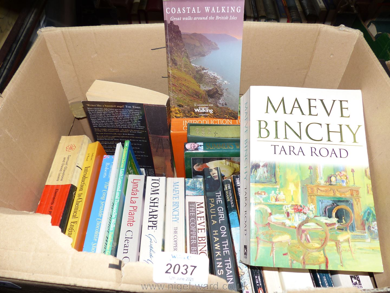 A box of novels including Maeve Binchy, Tom Sharpe, etc.