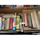 Two boxes of books including King Albert's book, Salar the Salmon, The Shell & BP Guide to Britain,