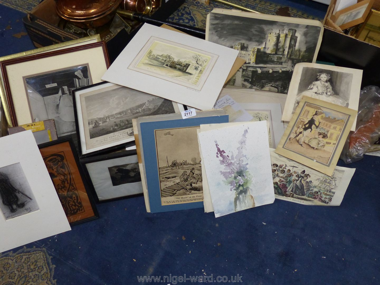 **A box of artwork's to include original watercolours, cartoons, old hand coloured prints,