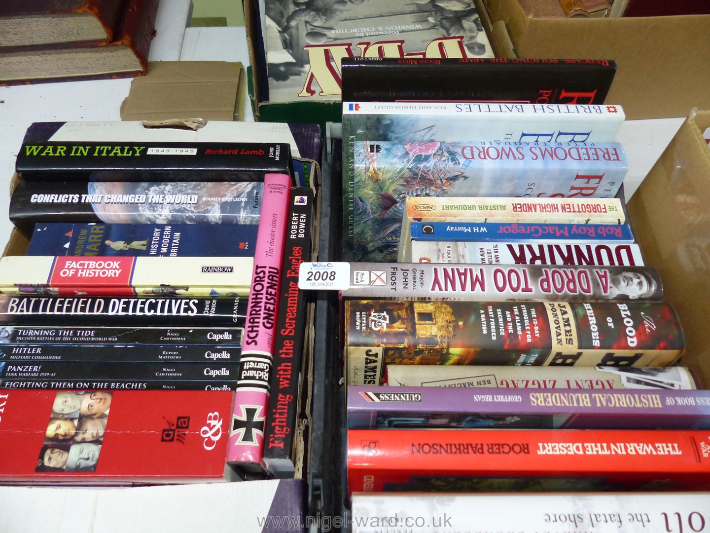 Two boxes of books on War and The History of War.