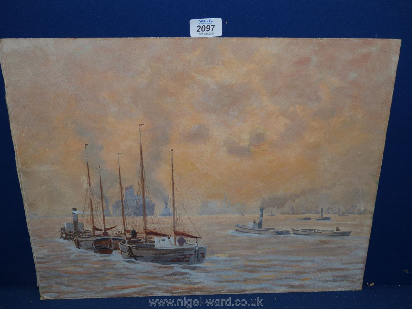 An Oil on academy board ''Pool of London'' with tugboats and steamers,