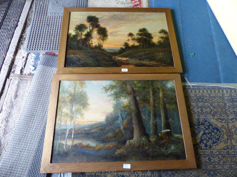 Two wooden framed F.E.