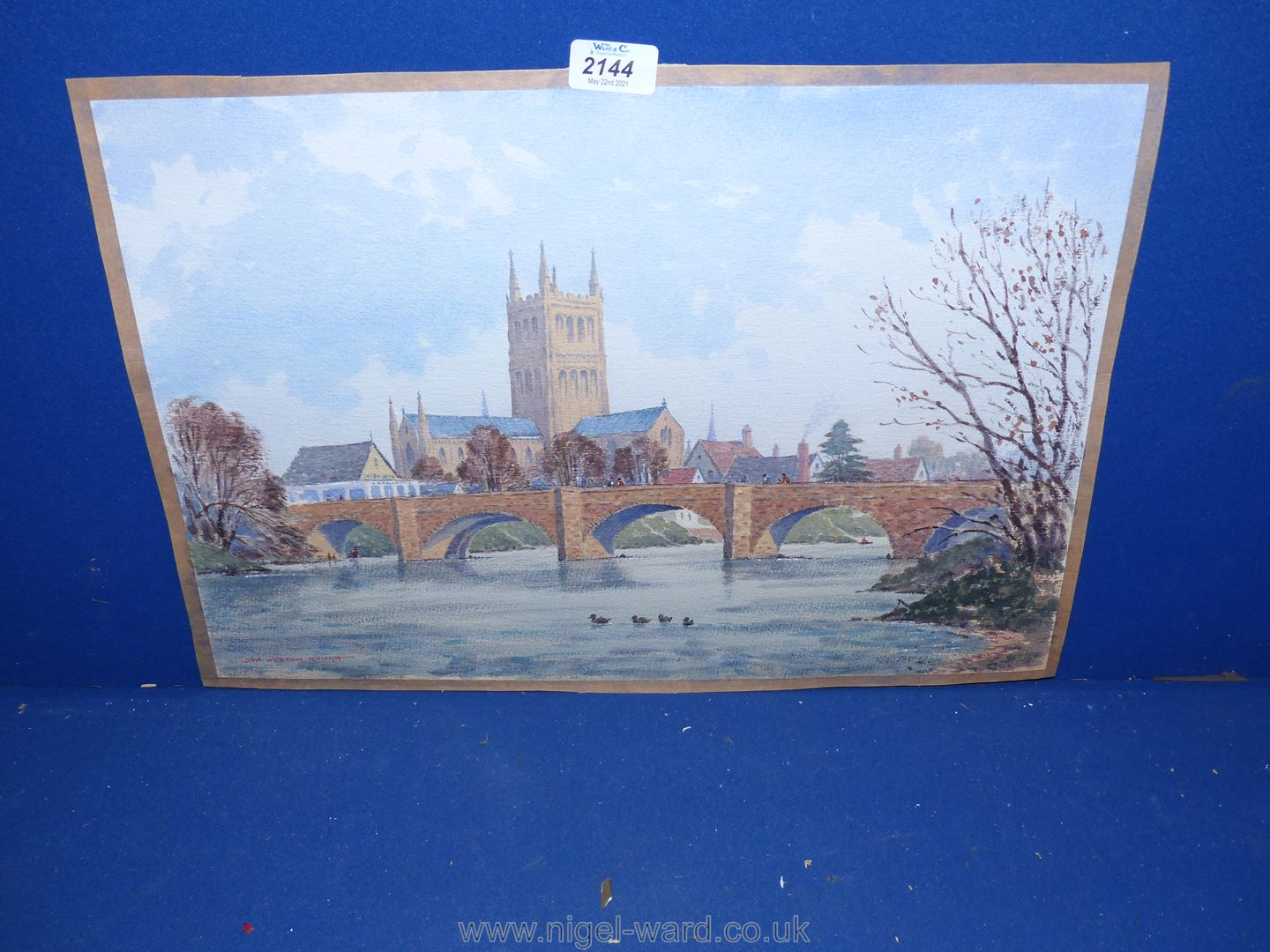 A Watercolour of Hereford Old Bridge,