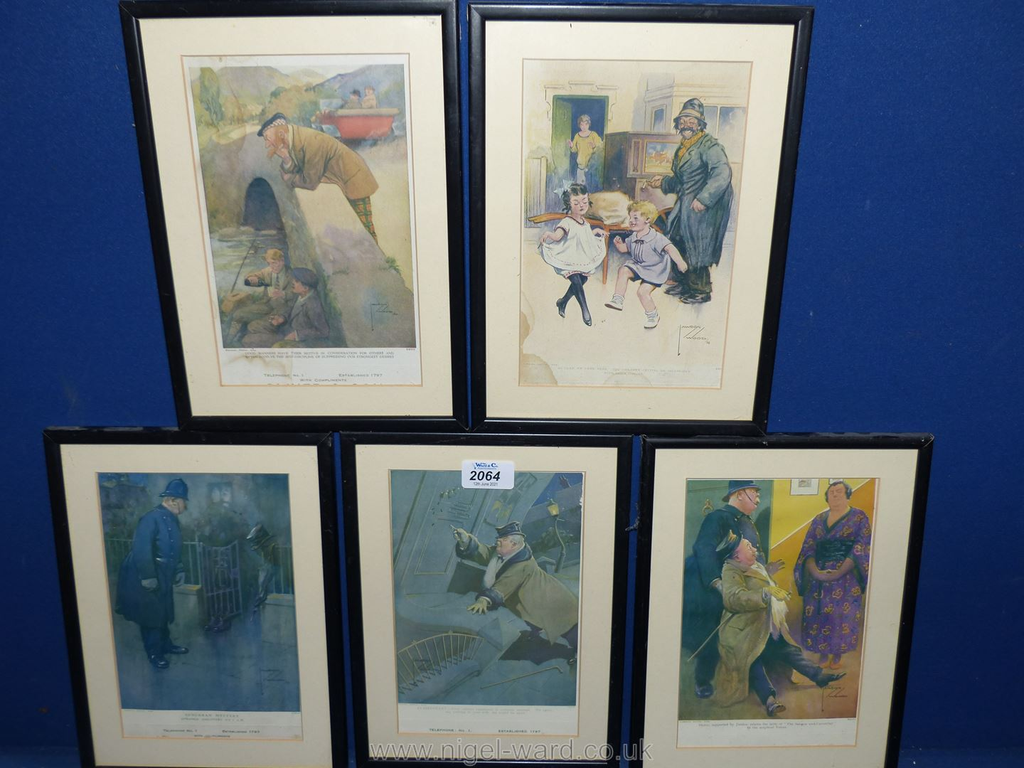 """Five framed Lawson Wood Prints to include """"Suburban Mystery"""", """"Clairvoyant"""", """"Blotto"""", etc."""