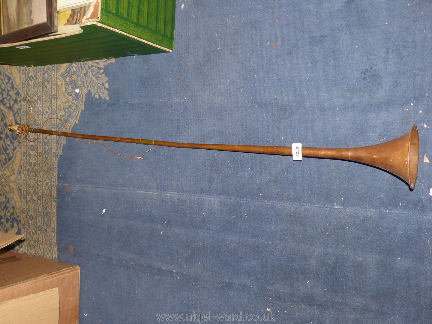 A very long vintage copper Hunting Horn