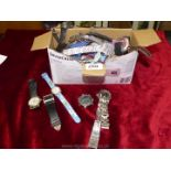 A box of watches including Tag Heur, Glamour Puss, Premiere etc, all a/f.