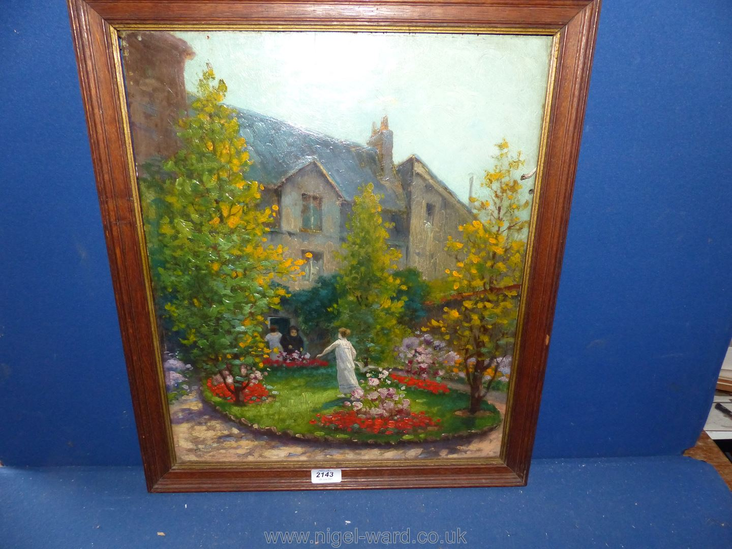 An Oil on board ''In a Russian Garden'' signed Charles Rambert, (1867 -1932),