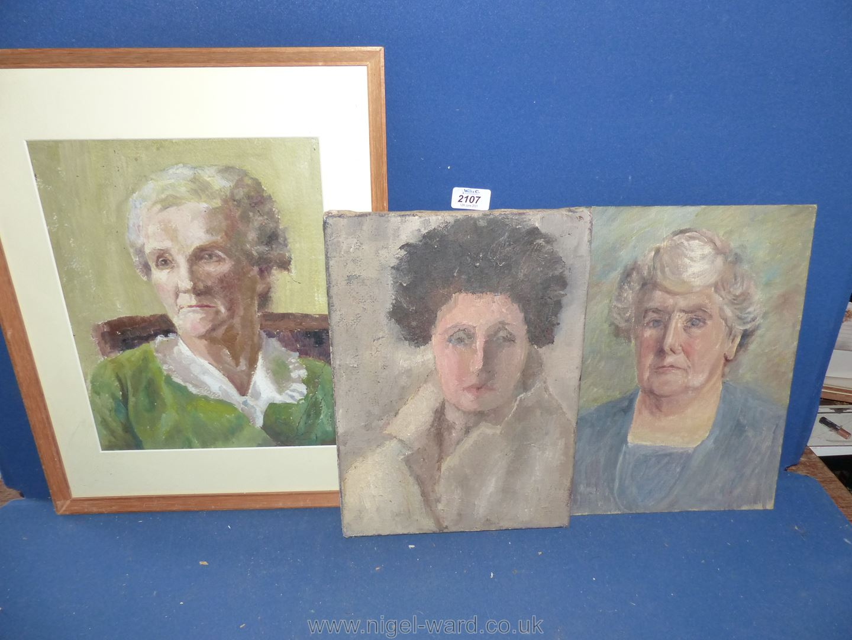 Three Oil portraits of women.