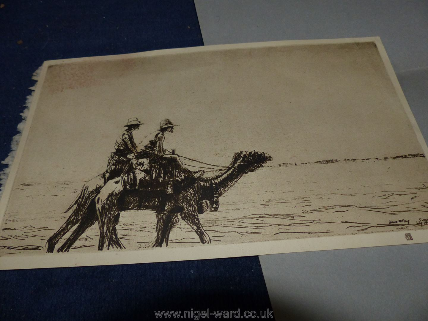 **A box of artwork's to include original watercolours, cartoons, old hand coloured prints, - Image 8 of 9