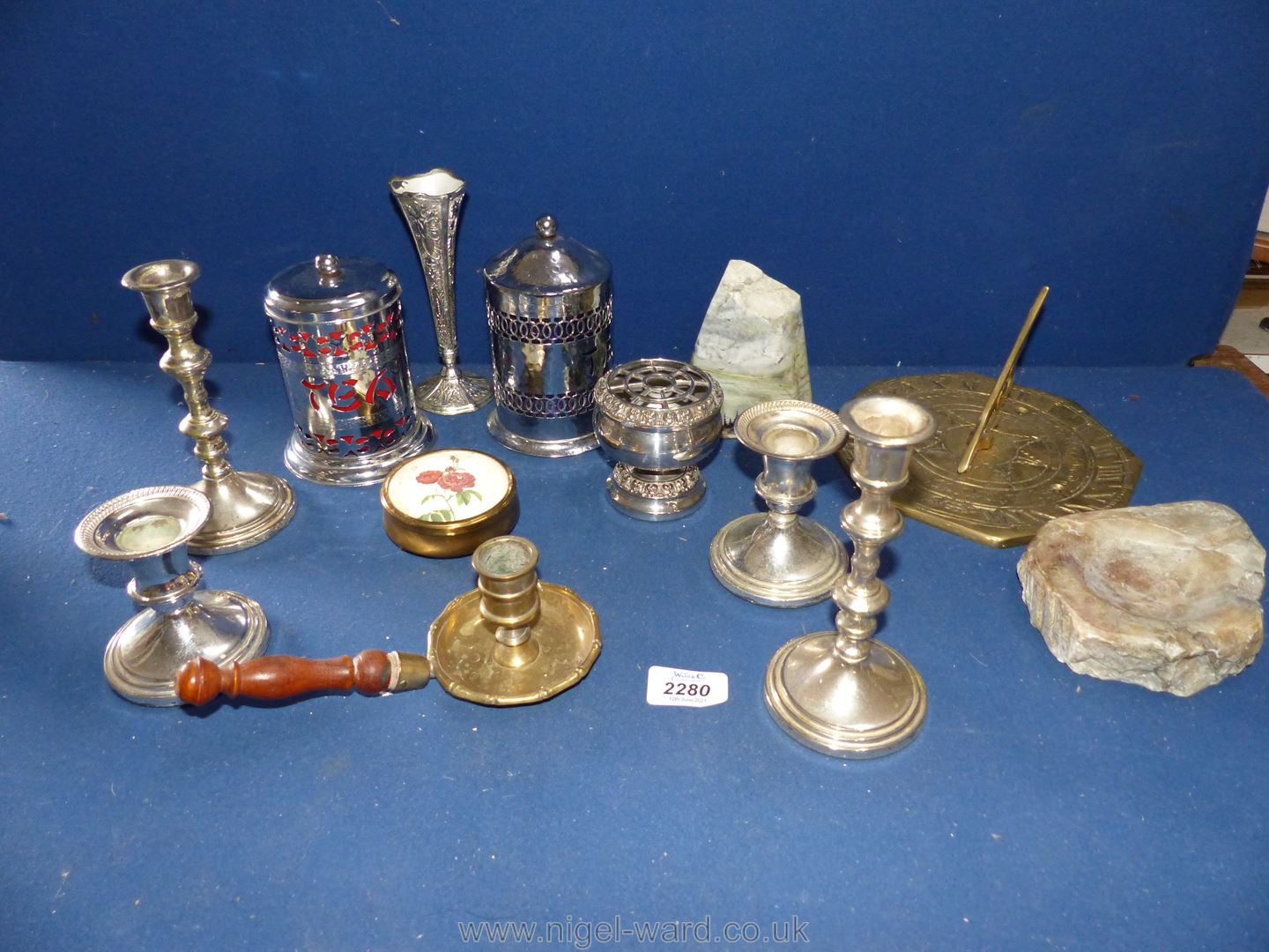 Miscellaneous metalware including two pairs of silver plated candlesticks, two tea caddies, - Image 4 of 4