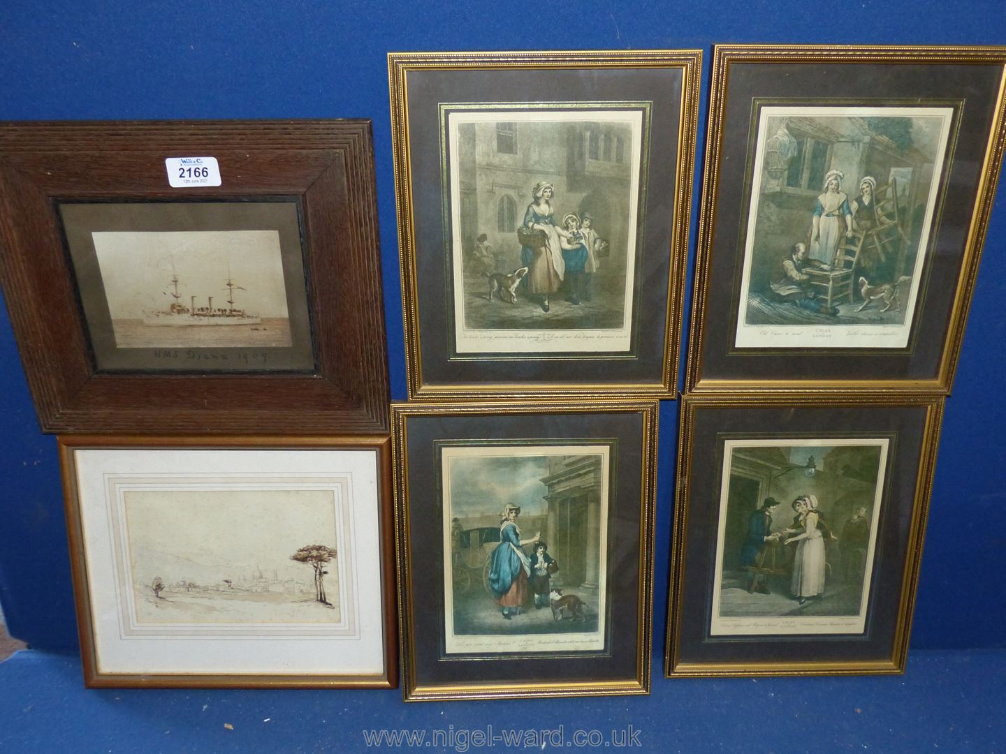 """An Old Naval photo, framed, Ink Drawing 1865 and four """"Cries of London"""" prints. - Image 3 of 3"""