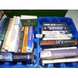 Two blue tubs of books including Churchill, Last Hours on Everest, Soldier Spy,