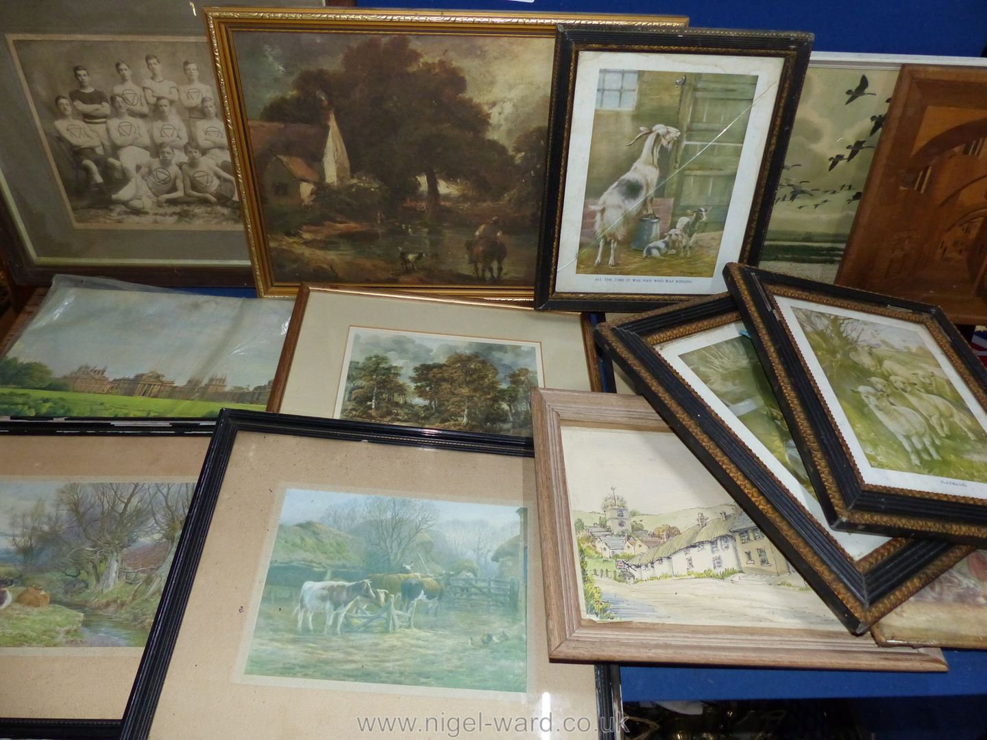 Assorted framed period pictures and other pictures.