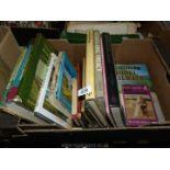 A box of books including British Railway history, Stanier locomotives, model boats, etc.
