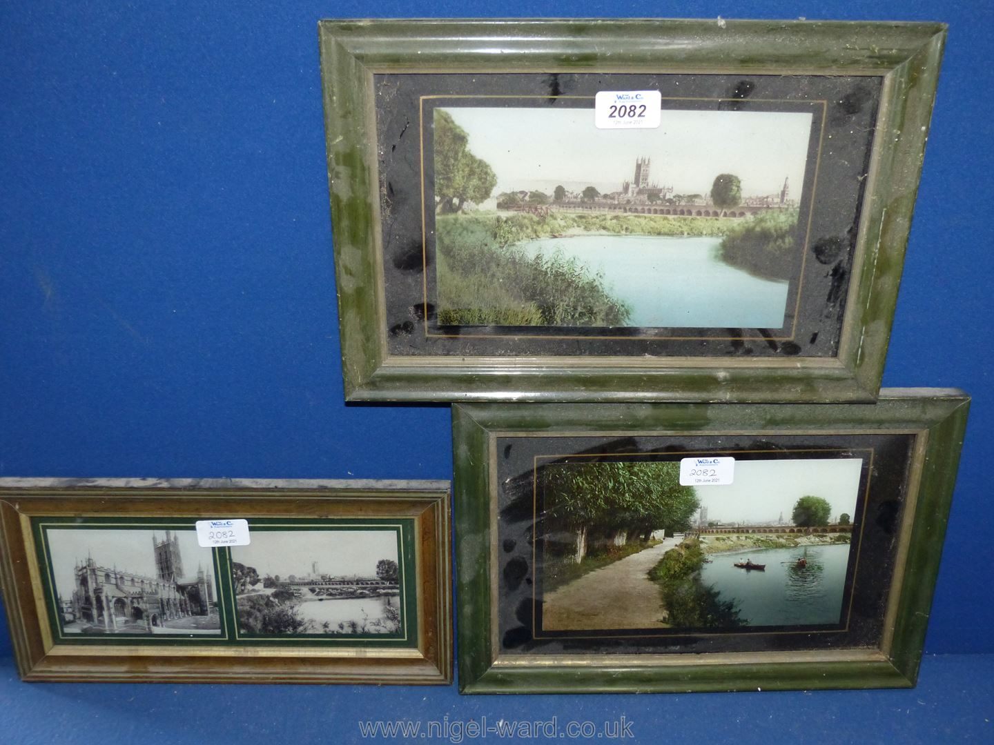 Prints of Gloucester Cathedral from the river taken from old photographs.
