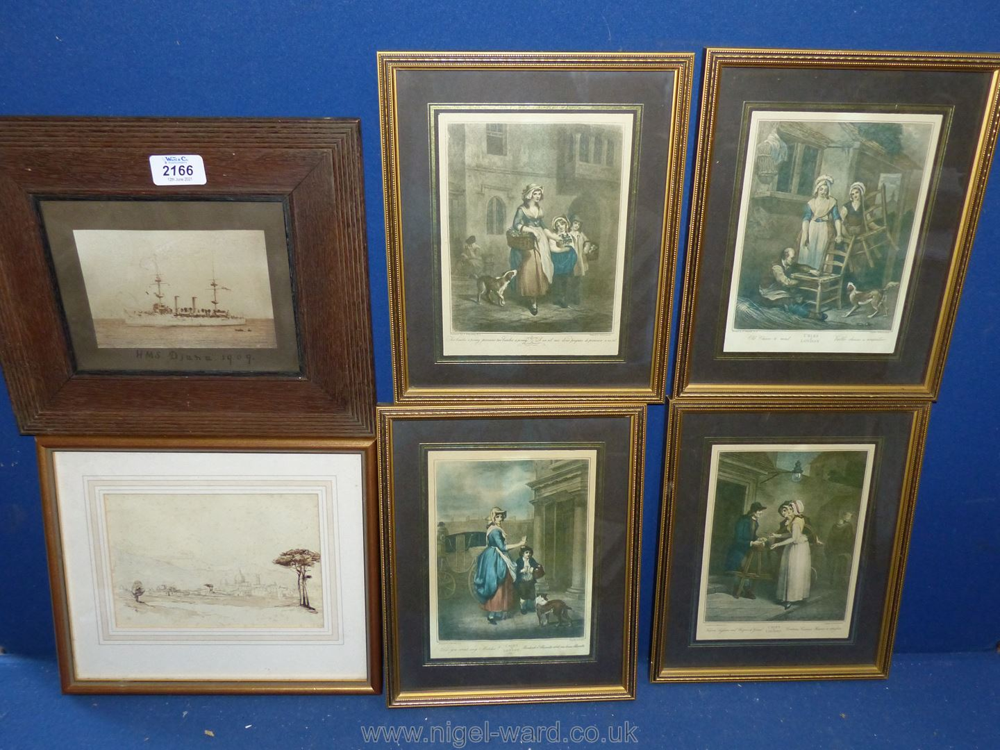 """An Old Naval photo, framed, Ink Drawing 1865 and four """"Cries of London"""" prints."""