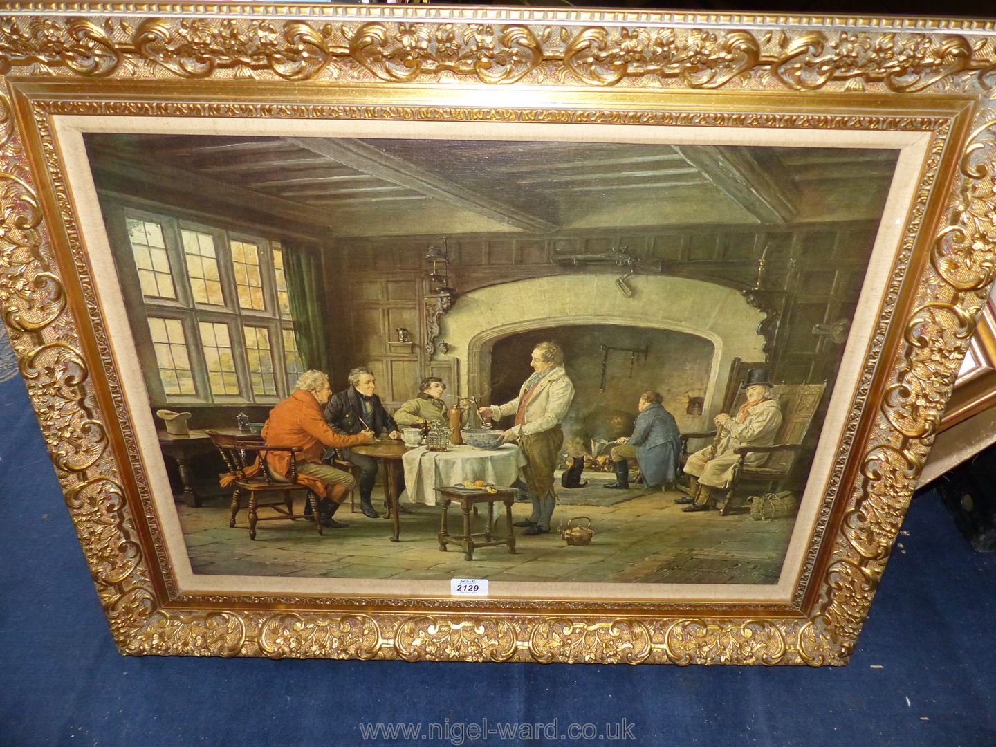 A large Print on canvas depicting gentlemen in an interior scene at a table with pipes, - Image 2 of 2