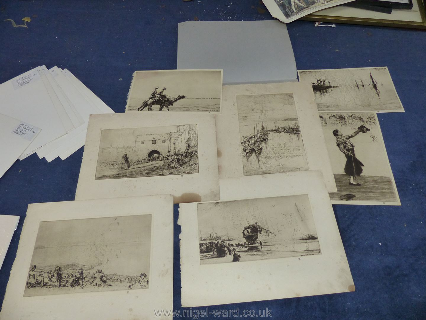 **A box of artwork's to include original watercolours, cartoons, old hand coloured prints, - Image 2 of 9