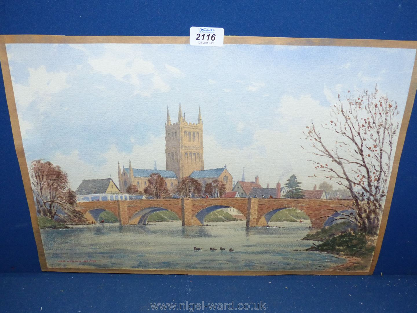 A Watercolour of Hereford Old Bridge, - Image 2 of 2