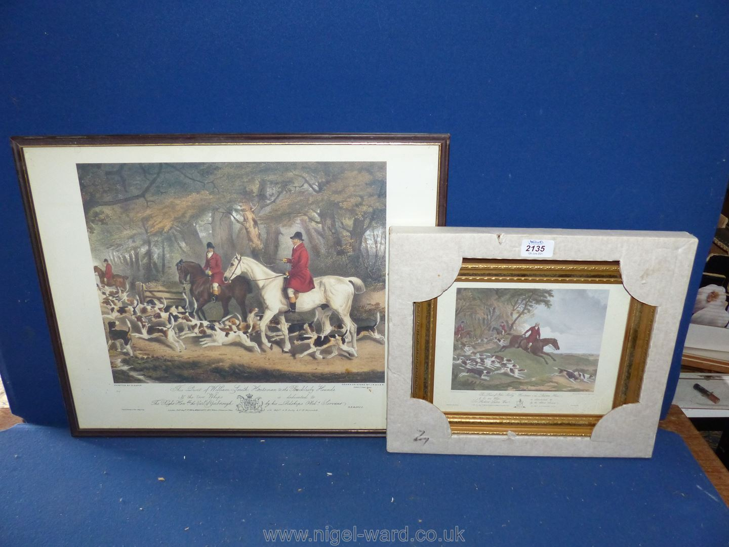 A framed Print of William Smith Huntsman to Brocklesby Hound, and a Print of John Hurley,
