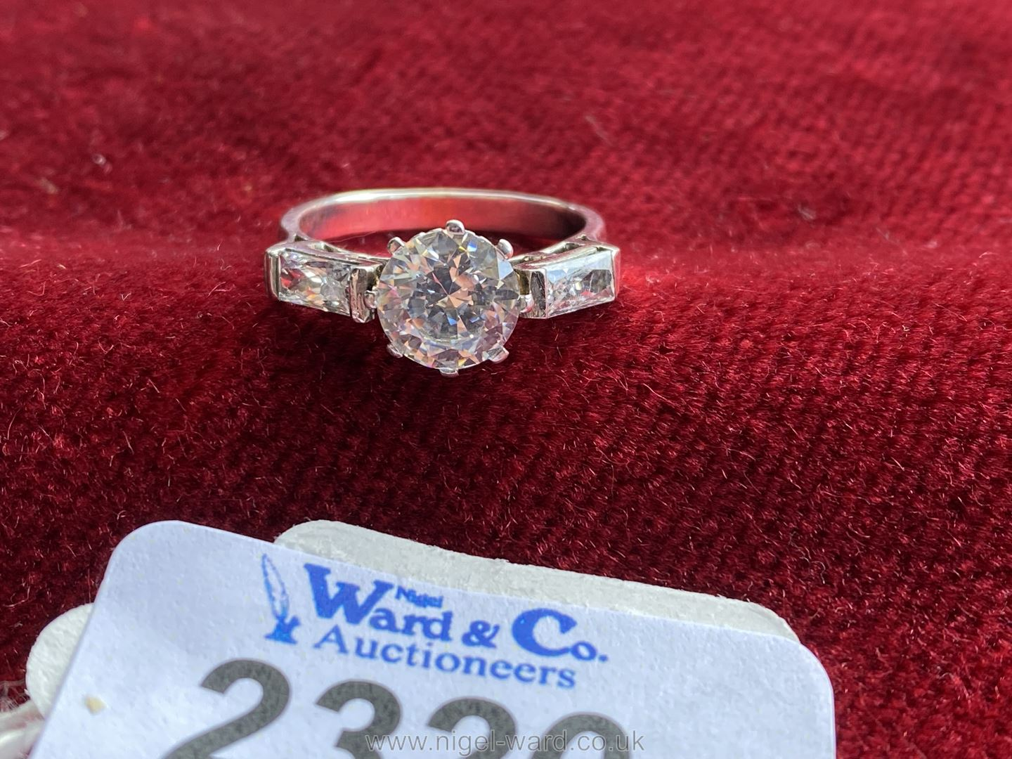 """A white gold Cubic Zirconia Ring set with three stones. Ring size """"P"""". - Image 2 of 4"""