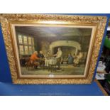 A large Print on canvas depicting gentlemen in an interior scene at a table with pipes,