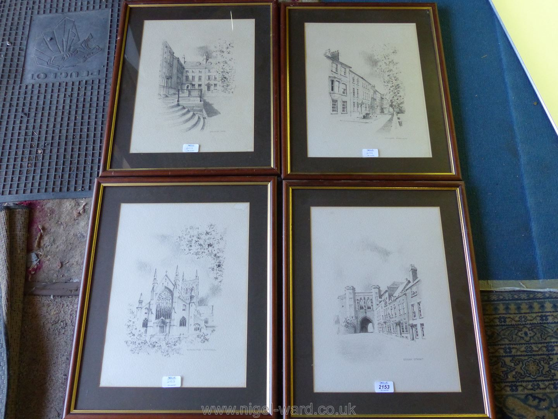 Four framed Prints of local interest including ''Edgar Street'', ''Worcester Cathedral'',
