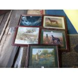 Five framed Prints including Ballyregan Bob, dogs hunting deer and foxes, etc.
