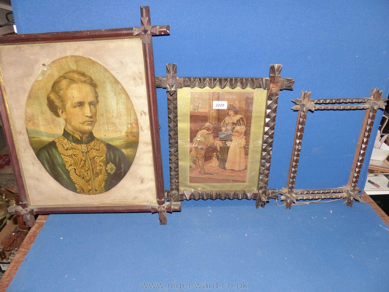 Three Edwardian Arts & Crafts cruciform frames, two with prints.