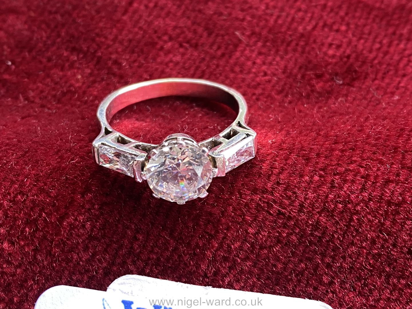 """A white gold Cubic Zirconia Ring set with three stones. Ring size """"P"""". - Image 4 of 4"""