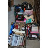 Four boxes of stationery, files, epaulets a/f,