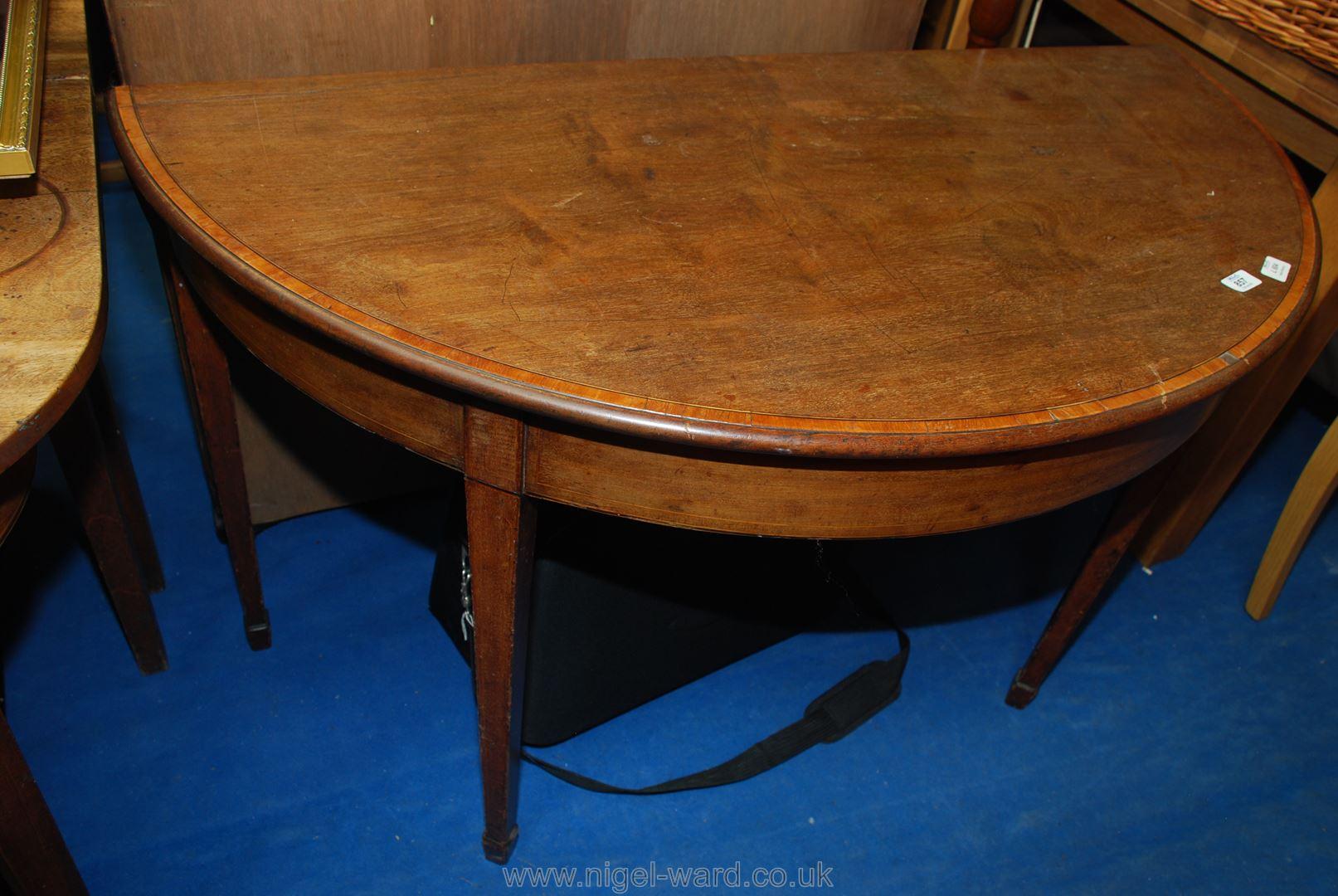 Drop leaf demi lune table, 46'' diameter. - Image 4 of 4