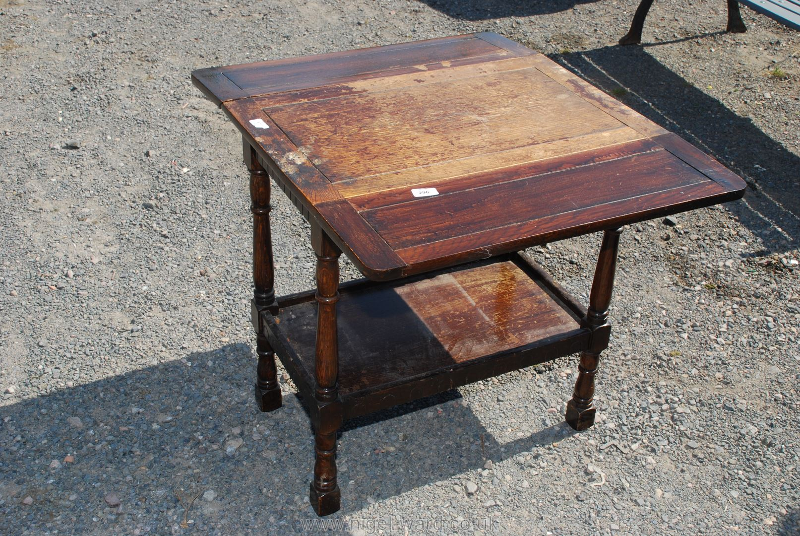 Oak drop leaf table with undershelf,