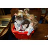 Box of collectable dolls