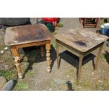 Two tables, both 26'' square, one on turned legs, the other on tapered legs.