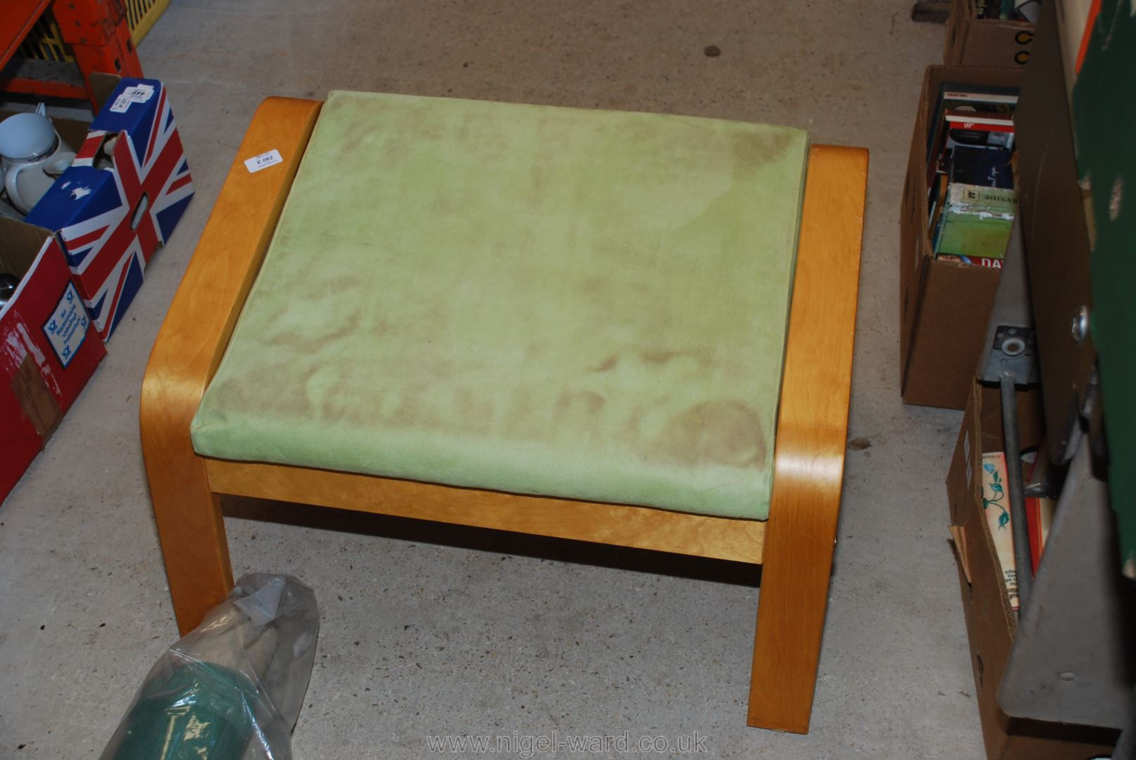 IKEA bentwood style armchair with foot stool in pale green. - Image 2 of 2