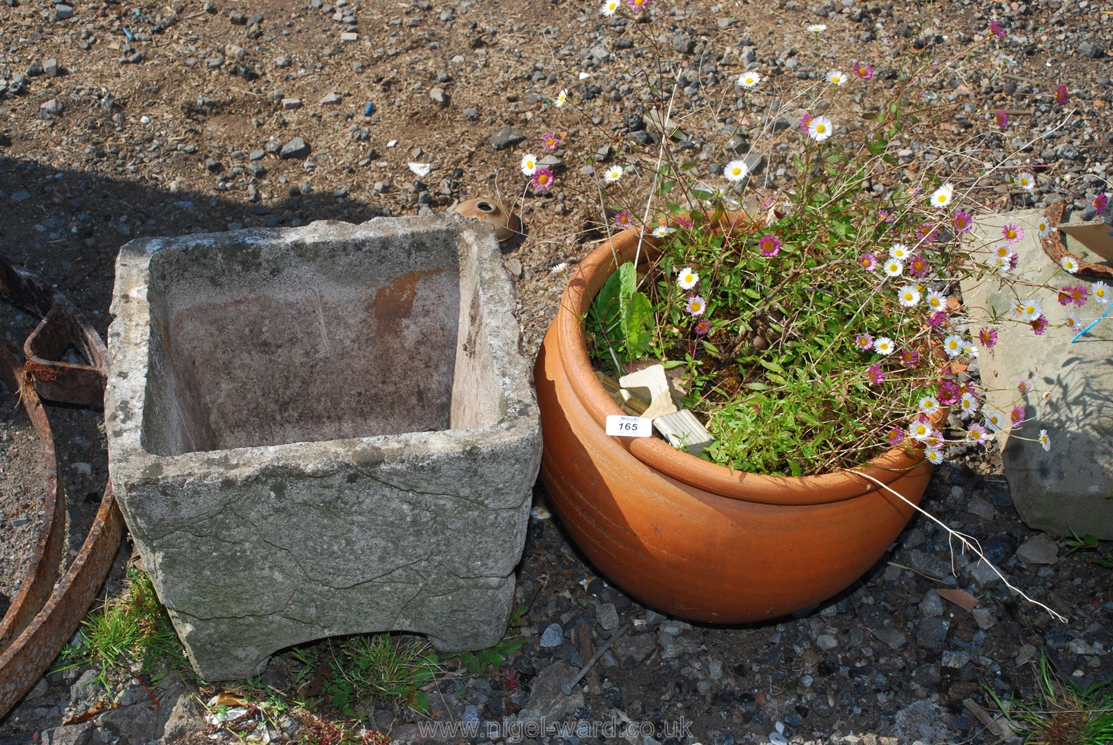 Terracotta and concrete planters, both 14'' .