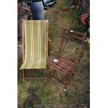 Folding deck chair and wooden chair