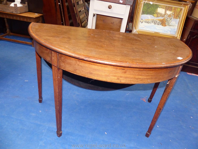 Drop leaf demi lune table, 46'' diameter. - Image 3 of 4