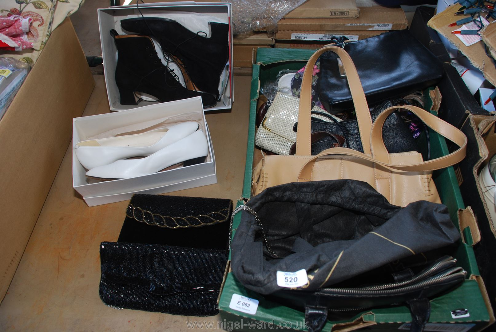 A quantity of handbags and boxed ladies shoes (size 6/euro 39).